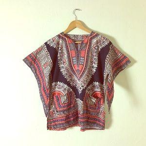 Tops - Vintage 1960s Dashiki Batik with Wing Sleeves